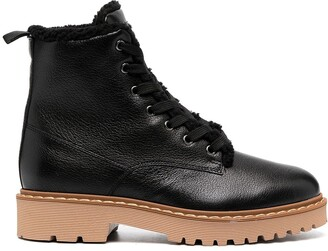 Hogan Shearling-Lined Lace-Up Boots