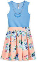 Beautees 2-Pc. Bodysuit & Skirt Set With Attached Necklace, Big Girls (7-16)
