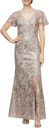Alex Evenings Beaded & Embroidered A-Line Gown