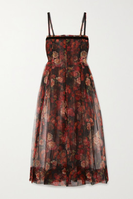 Molly Goddard Trino Velvet-trimmed Pleated Floral-print Tulle Midi Dress - Black