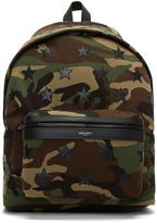 Saint Laurent Men's Camouflage Star Appliqué Canvas Hunting Backpack In Khaki