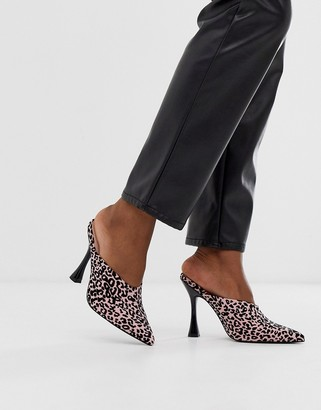 Asos Design DESIGN Phillis flared high heel mules in leopard print-Pink