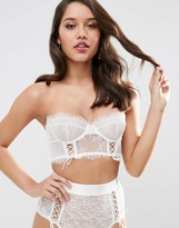 Asos BRIDAL FAYE Satin & Lace Up Underwire Bustier Bra