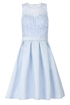Quiz Blue Satin And Mesh 3D Flower Prom Dress