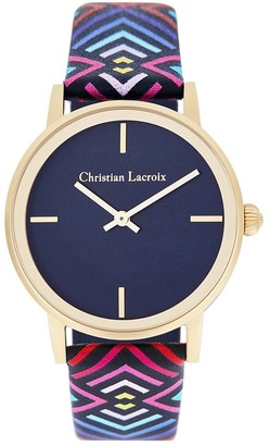 Christian Lacroix Womens Analogue Quartz Watch with Leather Strap CLWE55