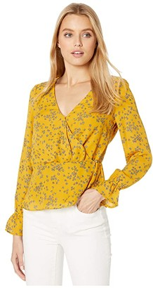 Cupcakes And Cashmere Joie Tossed Buds CDC Wrap Blouse (Harvest Gold) Women's Blouse