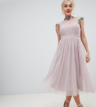 Little Mistress Petite midi prom dress with embellished collar and sleeves