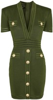 Balmain Army Green Knitted Mini Dress