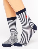 Asos Embroidered Lobster Stripe Ankle Sock