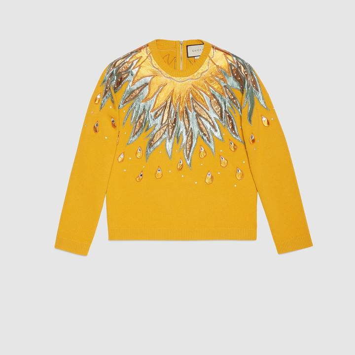 Gucci Wool sweater with leather appliqués