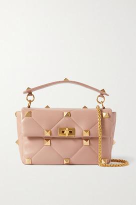 Valentino Garavani Roman Stud Quilted Leather Shoulder Bag - Pink
