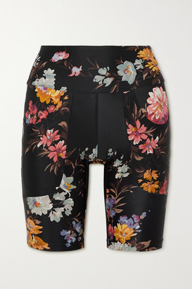 Twin Fantasy Paneled Floral-print Stretch Shorts - Black