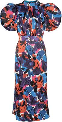 Rotate by Birger Christensen Dawn Puff-Sleeve Printed Crepe De Chine Midi Dress