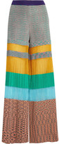 Missoni Pleated Striped Crochet-knit Wide-leg Pants - Yellow