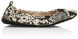 Tod's Python-Embossed Leather Ballet Flats