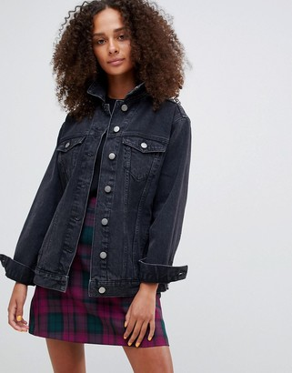 Asos Design DESIGN denim girlfriend jacket in washed black