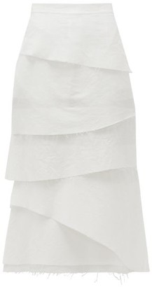 Brock Collection Asymmetric Tiered Cotton-blend Poplin Midi Skirt - White