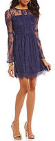 Sequin Hearts Pom-Pom Trim Long-Sleeve Lace Scalloped-Hem A-Line Dress