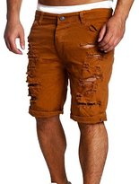 Enrica Men's Casual Ripped Destroyed Slim Fit Jeans Shorts