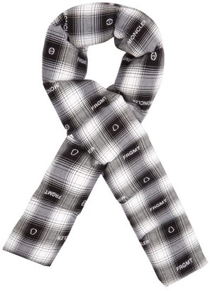 7 Moncler Fragment - Logo-jacquard Tartan Padded Flannel Scarf - Black White