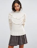 Vero Moda Ruffle High Neck Sweater