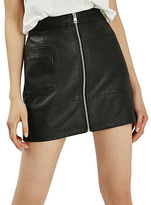 Topshop PETITE Faux Leather Zippy Skirt