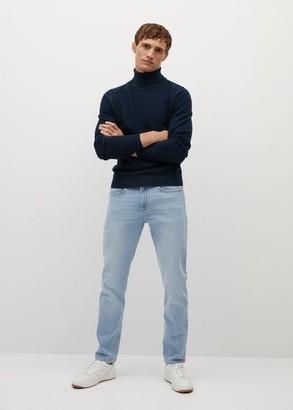 MANGO MAN - Textured turtle neck sweater ecru - S - Men