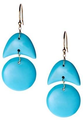 Ten Thousand Things 18K Yellow Gold & Turquoise Tiny Arrowhead Double Drop Earrings