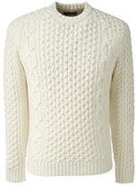 Classic Men's Cashmere Aran Crew Sweater-Light Beige