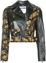 Moschino floral two tone cropped biker jacket