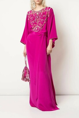 Marchesa Embroidered Crepe Caftan Gown