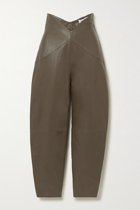 ATTICO The Leather Tapered Pants - Army green