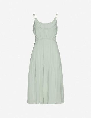 Reiss Pleated-trim scoop-neck chiffon midi dress