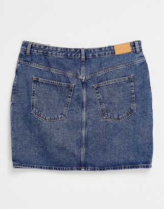 Monki Mimmie organic cotton denim mini skirt in mid wash blue