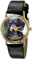 Whimsical Watches Kids' P0130034 Classic Dachshund Black Leather And Goldtone Photo Watch