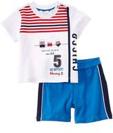 Chicco Boys' 2Pc White & Blue T-Shirt & Short Set