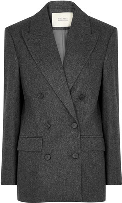 MARK KENLY DOMINO TAN Juana Grey Double-breasted Wool-blend Blazer