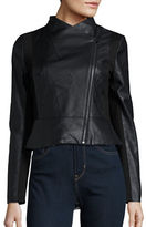 French Connection Knit-Accented Faux Leather Jacket