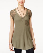 American Rag Printed Waffle-Knit Lace-Trim Top, Only at Macy's