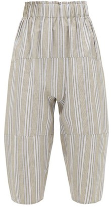 Loup Charmant Homer Striped Paperbag-waist Cropped Trousers - Beige Stripe