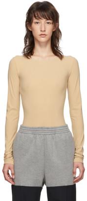 MM6 MAISON MARGIELA Beige Long Sleeve Bodysuit