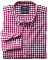 Charles Tyrwhitt Extra slim fit non-iron poplin red check shirt