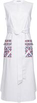 Vika Gazinskaya Waffle-Cotton Dress With Print Pockets