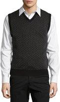 Neiman Marcus Geometric-Print V-Neck Vest, Black