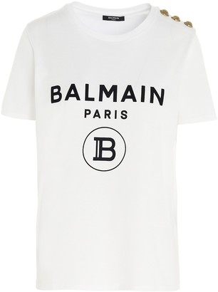 Balmain Logo Button Embellished T-Shirt