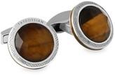 Tateossian Doppione Round Tiger's Eye & Rock Crystal Cufflinks