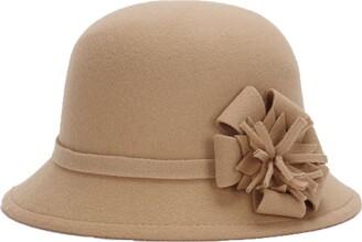 Greenlans Ladies Vintage Elegant Wool Blend Cloche Bucket Hat Winter Warm Flower Brim Cap Light Tan