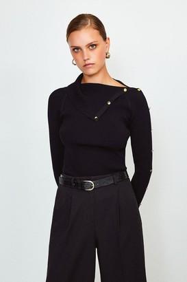 Karen Millen Button Detail Envelope Neck Knitted Jumper