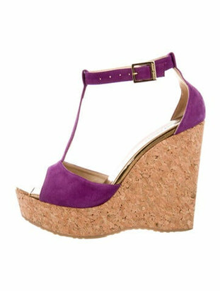 Jimmy Choo Suede T-Strap Sandals Purple