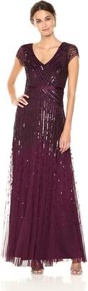 Adrianna Papell Women's Long Beaded V-Neck Dress with Cap Sleeves and Waistband